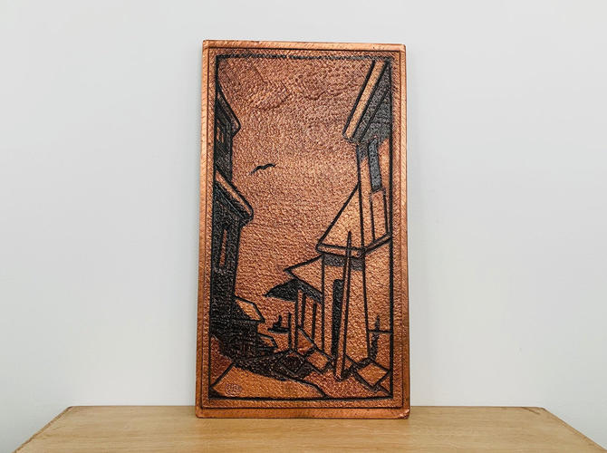 Mid Century Hammered Copper City Scene Art Made in Chile by DelveChicago