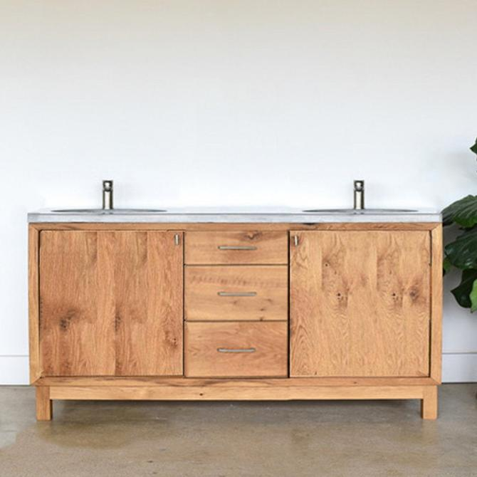 "60"" Farmhouse Vanity / Reclaimed Wood Bathroom Vanity / Double Sink Console by wwmake"