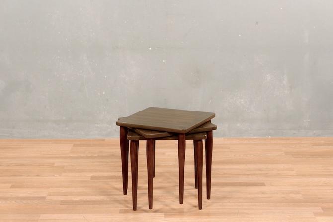 Trio of Mid Century Square Laminate Stacking Tables