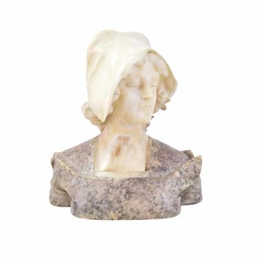Late 19th Early 20th C.  Italian Marble Bust Beautiful Young Woman Wearing Cap by PrairielandArt