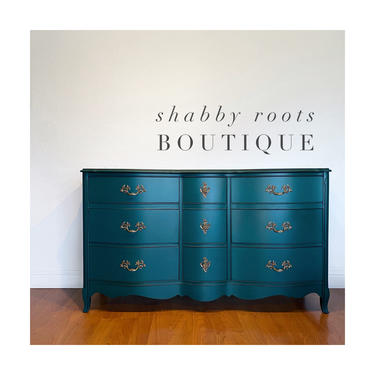 NEW! Beautiful Turquoise blue green dresser French Provincial chest of drawers with brass hardware 9 drawers San Francisco CA by ShabbyRootsBoutique