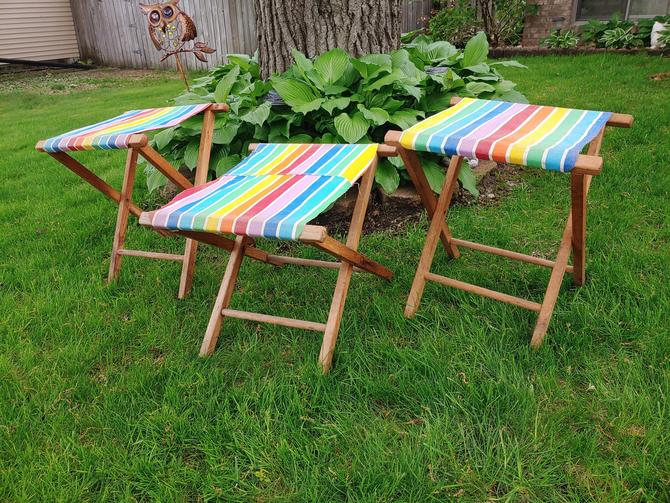 Set of 3 Wood and Rainbow Canvas Folding Camping Stool by RedsRustyRelics