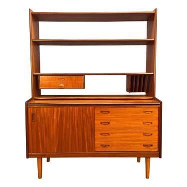 Vintage Scandinavian Mid Century Modern Teak Secretary Bookcase by AymerickModern