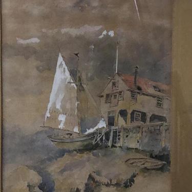 Antique Gouache Watercolor Ship at dock by QuaboagValleyAntique