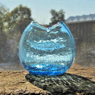 Blenko Crackle Blue Pinched Vase by ArtloversFinds