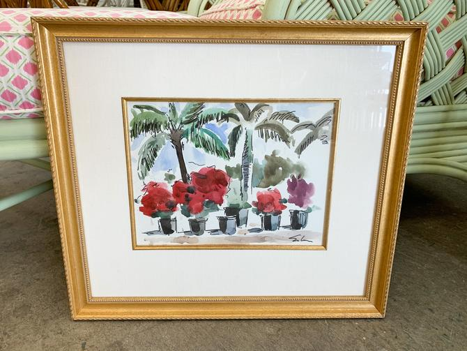 Palm Beachy Palms and Bougainvillea Water Color