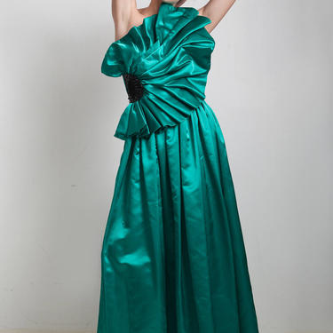 vintage 80s evening gown formal evening dress asymmetrical origami pleated sequins green floor length one shoulder SMALL S by shoprabbithole