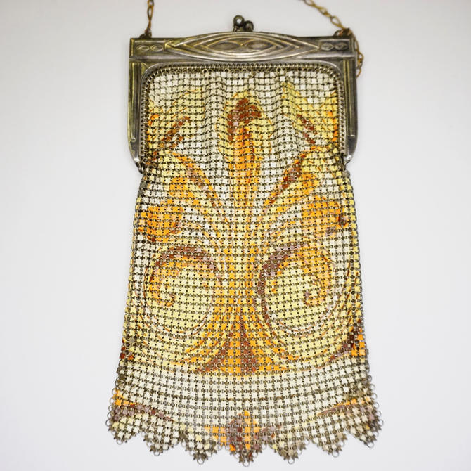 Vintage Whiting & Davis Enamel Mesh Purse, Color Chainmail Bag With Swirl Design, Antique Art Deco Mesh Hand Purse, Whiting and Davis Co by shopGoodsVintage