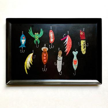 Rare Early Couroc Tray w/ Fishing Lures, Vintage 1950s California Modernism by templeofvintage