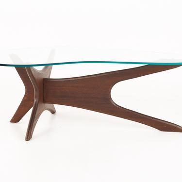 Adrian Pearsall Jacks Mid Century Walnut and Glass Coffee Table  - mcm by ModernHill