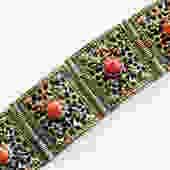 Vintage Silver Mid East Bracelet with Carnelian Cabochons by LegendaryBeast