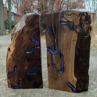 Pair of Black Walnut Slabs, Live Edge Wall Art