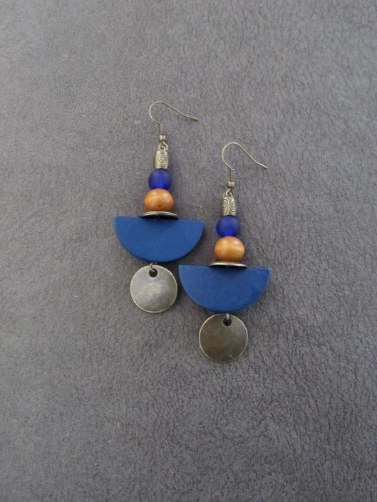 Blue wood earrings, Afrocentric earrings, African earrings, bold earrings, statement earrings, geometric earrings, rustic bronze earrings 2 by Afrocasian