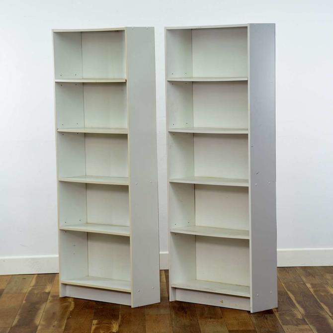 Pair Of Contemporary White Bookcases 2