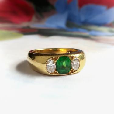 Vintage Tsavorite Green Garnet Diamond Ring 18K Yellow Gold by YourJewelryFinder