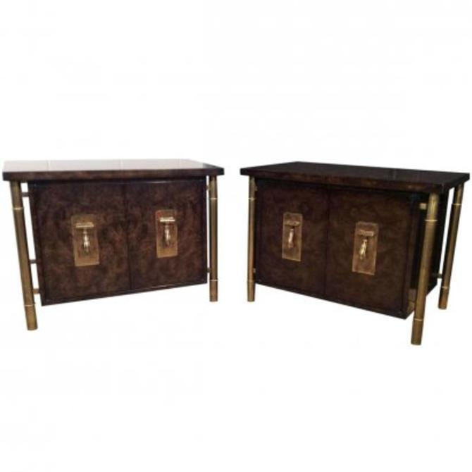 Burl and Brass Side Tables by MasterCraft - Pair