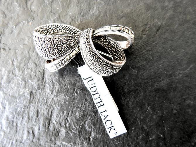 Vintage Judith Jack Bow Brooch Sterling, Marcasite New with Tags by LegendaryBeast