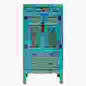 Chinese Fujian Blue Golden Carving Graphic Armoire Storage Cabinet cs5178S