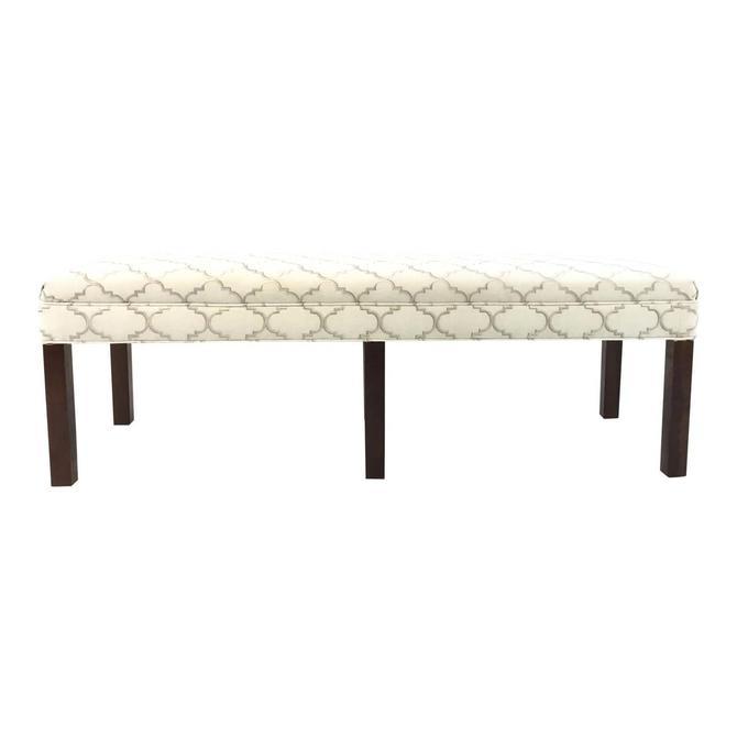 Custom Modern White and Gray Ogee Print Long Bench