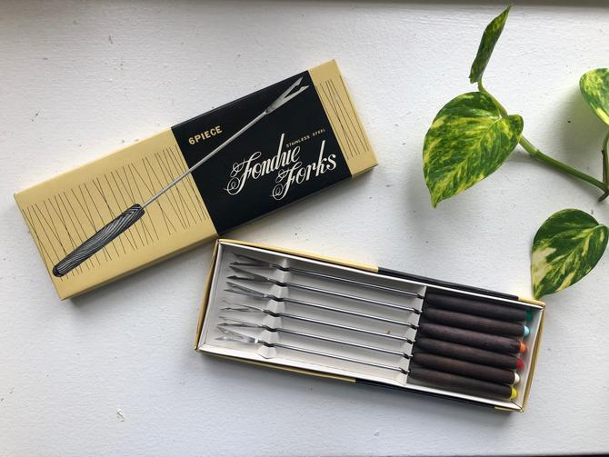 Vintage MCM 6 Piece Stainless Steel Fondue Fork Set, Mid Century Modern Party Set, Wood Handles, New in Box by BlackcurrantPreserve
