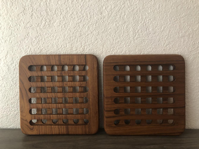 Vintage Danish Modern Style Wood Lattice Trivet Table Protector Hot Pad 1960s Scandinavian Mid Century by PKFlamingoVintage