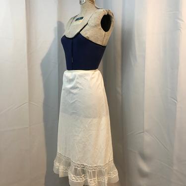 1950s vintage lingerie chiffon ruffle skirt slip white Seamprufe M by RadioRadioVintage