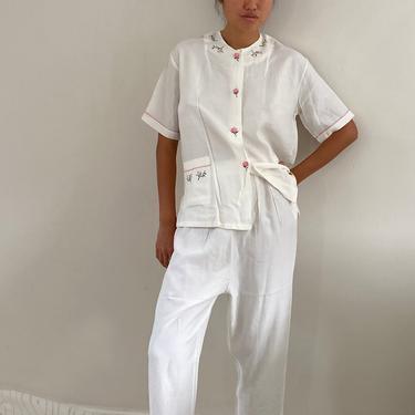 40s matching lounge set / vintage white rayon embroidered lounge pant suit set / souvenir pajama pant suit 2 piece set | M by RecapVintageStudio