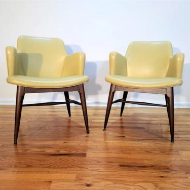 Mid Century Pair of Vinyl Lounge Chairs by ProRefineFurnishings