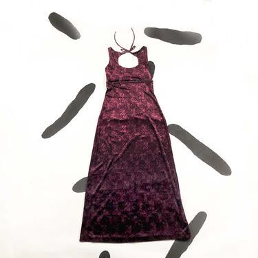 90s Betsey Johnson Velvet Maxi Dress With Beaded Fringe and Back Cut Out / Large / 1990s / y2k / Floral / Rose Print / Goth / Grunge / L / by shoptrashdotnet