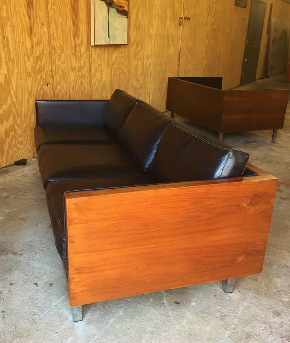 Vintage Mid Century Modern Teak Milo Baughman Style 3 Seat Sofa w Chrome Legs by ModandOzzie