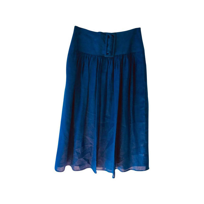 Georgio Armani Blue Linen Midi Skirt Sz 42 by MetronomeThreads
