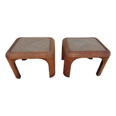 Pair Pencil Reed Rattan Wave End Tables Gabriella Crespi Style by VeronaVintageHome