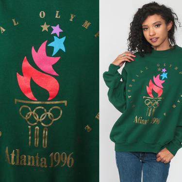 Atlanta Olympics Shirt 1996 USA Olympics Sweatshirt Crewneck Sweatshirt 90s Green Slouchy 1990s Vintage Sweat Shirt Extra Large xl by ShopExile