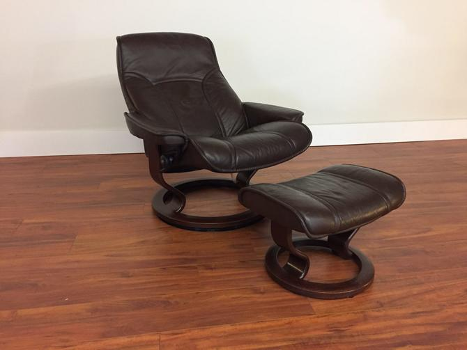 Ekornes Senator Dark Brown Chair & Ottoman