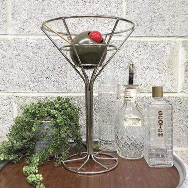 Vintage Martini Lamp Retro 1990s David Krys + Op Art + Sculpture + Light Up Olive + Mood Lighting + Metal + Cocktail + Home and Bar Decor by RetrospectVintage215