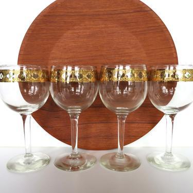 Set Of 4 Culver Valencia WIne Glasses, Vintage Culver 22kt Green And Gold Long Stem Barware by HerVintageCrush