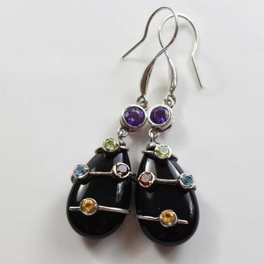 90's GSJ Gem Stone Jewelry 925 sterling silver onyx amethyst peridot topaz garnet citrine edgy teardrop bling dangle earrings by BetseysBeauties