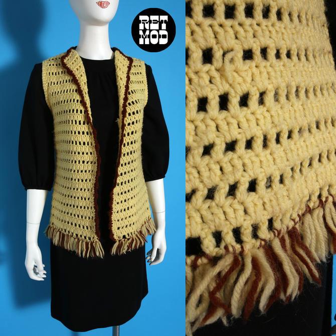 Chunky Vintage 60s 70s Mustard Cream & Brown Crochet Long Vest by RETMOD