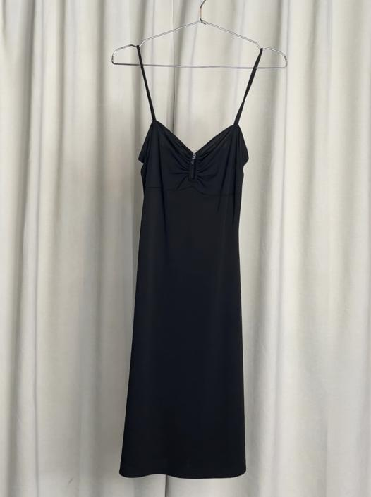Vintage 90's Black Midi Tank Dress with Ring Detail