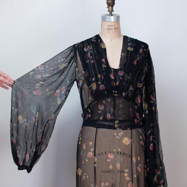 1930s Floral Print Chiffon Dress \ 30s Balloon Sleeve Sheer Dress by FemaleHysteria