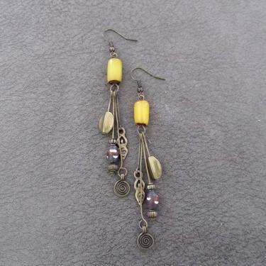 Goddess earrings, African statement earrings, Afrocentric earrings, yellow tribal earrings, long brass earrings, boho chic, female figure by Afrocasian