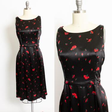 43903f6d6ca Vintage Betsey Johnson Dress - 1990s Poppy Floral Black Satin ...