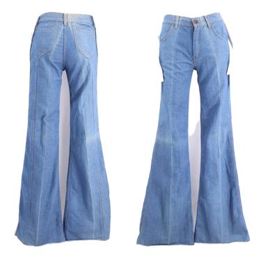 70s high waisted saddle stitch denim bell bottoms jeans 27  / vintage 1970s AMERICAN PANTS flares  sz 7 by ritualvintage