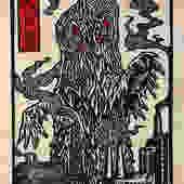 Hedorah Block Print by WoodcutEmporium