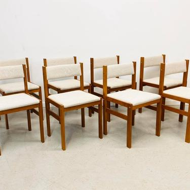 Danish modern teak dining chairs upholstered in oatmeal tweed by AtomicJunkiesGallery