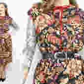 Vintage 70's 80's Black Dark Floral Dress / 1970's Floral Dress / Cotton Dress / Women's Size Medium / Large by RubyThreadsVintage