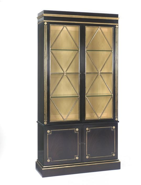 E. J VICTOR NEOCLASSICAL CABINET IN EBONY WITH GOLD DETAIL