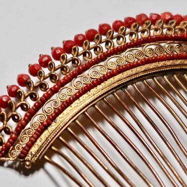 French Empire Red Coral Diadème, Antique Tiara, Georgian Tiara, Regency Tiara Comb, Antique Bridal Comb, Wedding Tiara, Antique Hair Comb by CombAgain