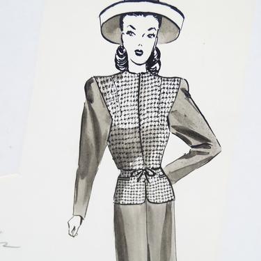 Antique 1940's Original Art, Sylvia Baird Vintage Fashion Advertisement Illustration Design Painting, Vintage Retro Woman in Dress by exploremag