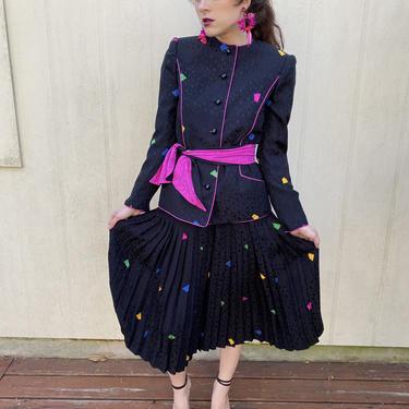 Vintage 80s Silk Geometric suit set 3 pc blazer skirt blouse XS S M by prismavintageatx